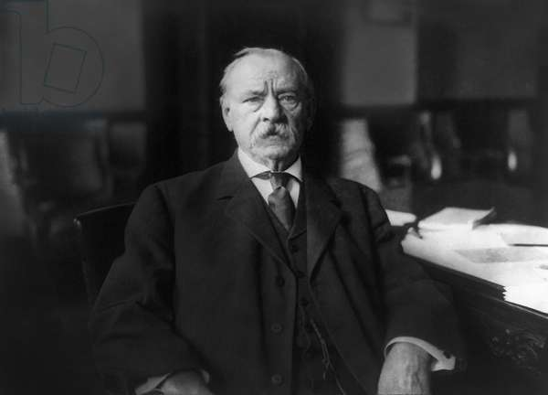 Grover Cleveland (1837-1908), 22nd and 24th President of the United States 1885–89 and 1893–97, Head and Shoulders Portrait at Home, Princeton, New Jersey, USA,by New York Herald Company, 1908 (b/w photo)