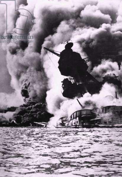 Destruction of the Battleship Arizona During the Japanese Attack on Pearl Harbor, Hawaii, 1941
