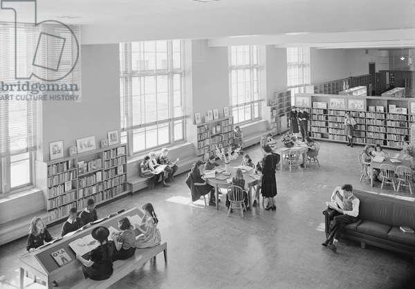 Children's Room, Brooklyn Public Library, Prospect Park Plaza, Brooklyn, New York, USA 1941 (b/w photo)