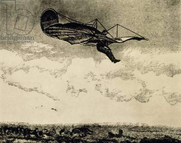 Otto Lilienthal During his Fatal Flight in Glider, Stollen, Germany, Contemporary Woodcut, August 9, 1896