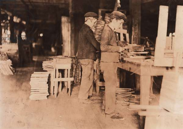 Two Young Boys Making Grate Bottoms at Basket Factory, Evansville, Indiana, USA, circa 1908