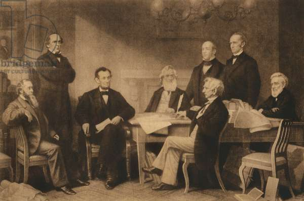 U.S. President Abraham Lincoln and First Reading of the Emancipation Proclamation of 1863, Washington DC, USA, Illustration