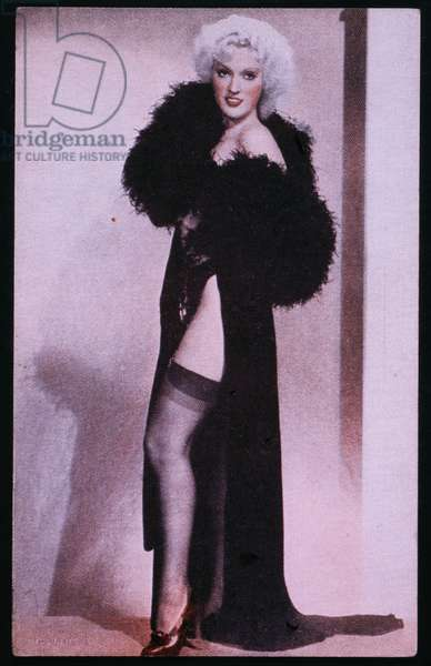 Woman in Sexy Robe and Nylon Stockings, Pin-up Card, 1940's (photo)