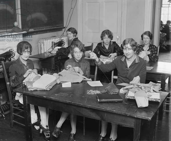 Group of Young Women Learning to Sew, College Home Economics Class, Washington DC, USA, 1926 (b/w photo)