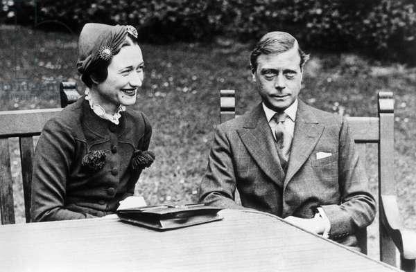 Duke of Windsor, formerly King Edward VIII, with Mrs. Wallis Simpson, Chateau de Cande, near Tours, France, 1937