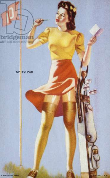 Up to Par, Mutoscope Card, 1940s (colour litho)