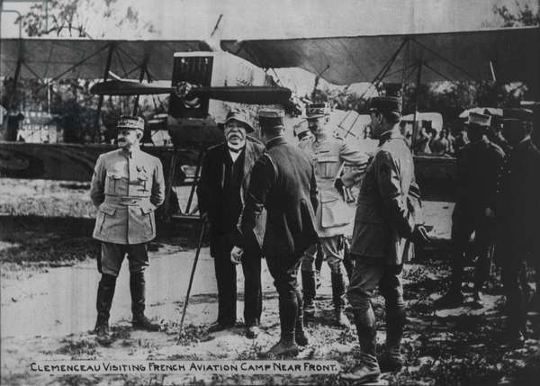 French Prime Minister Georges Clemenceau with Military Officers During Visit to French Aviation Camp, World War I, 1917
