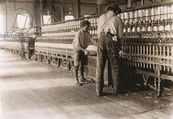 Young Boy Assisting in Removing Spindles at Cotton Factory, Cherryville, North Carolina, USA, circa 1908