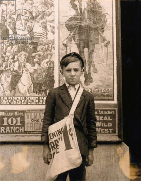 Portrait of 12-year-old Newsboy, Works at Candy Store in Addition to Selling Newspapers, Works 7 Days-a-Week, Wilmington, Delaware, USA, circa 1910