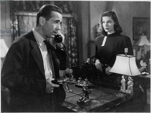 Humphrey Bogart and Lauren Bacall, on set of the film 'The Big Sleep', 1946 (b/w photo)