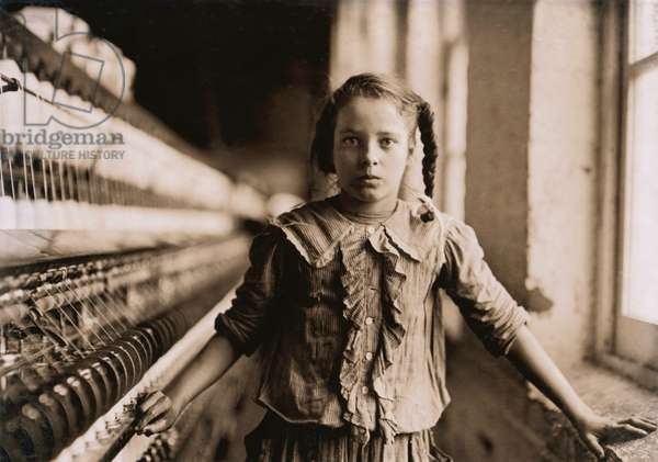 Portrait of Young Girl Working as Spinner at Cotton Mill, even Thought she is Not Old Enough to Work, Whitnel, North Carolina, USA, circa 1908