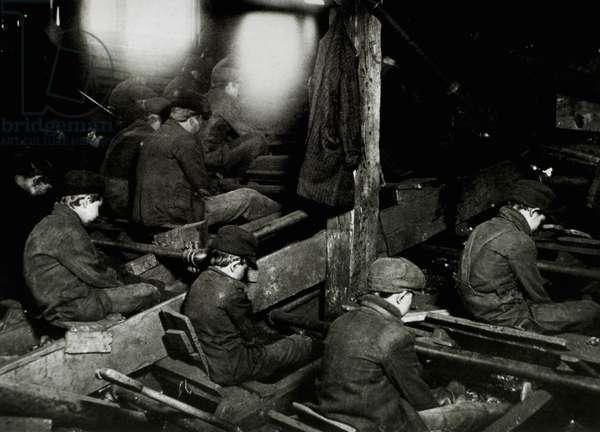 Breaker boys in a coal mine, Pittston, Pennsylvania, USA, 1911 (b/w photo)