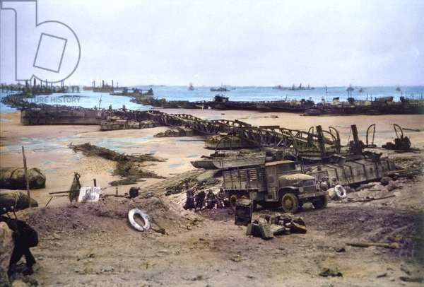 U.S. Pontoon Bridges Connecting Omaha Beach to Temporary Mulberry Harbour A, Normandy, France, June 16, 1944 (photo)