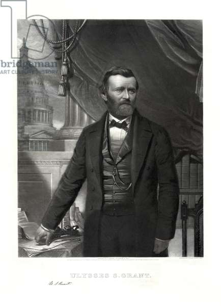 Ulysses S. Grant (1822-85), 18th President of the United States 1869-77, General of Union Army during American Civil War, Half-length Portrait, Engraving by William Sartain, 1866 (print)
