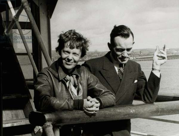 Amelia Earhart and Fred Noonan, Honolulu Airport, Hawaii, March 20, 1937
