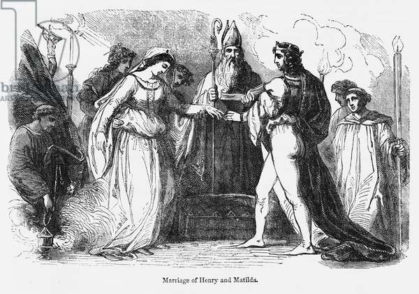 Marriage of Henry and Matilda, Illustration from John Cassell's Illustrated History of England, Vol. I from the earliest period to the reign of Edward the Fourth, Cassell, Petter and Galpin, 1857 (litho)