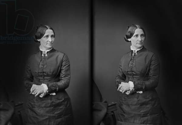 Lucy Webb Hayes, (1831-89), First Lady of the United States 1877-81, Wife of U.S. President Rutherford B. Hayes, Three-Quarter Length Portrait, Brady-Handy Collection, 1870's (b/w photo)