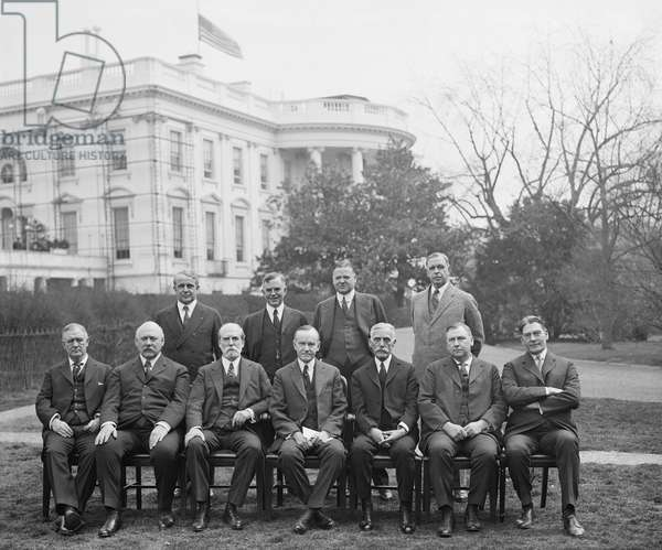 U.S. President Calvin Coolidge and his Cabinet, Portrait, Washington DC, USA, 1924 (b/w photo)