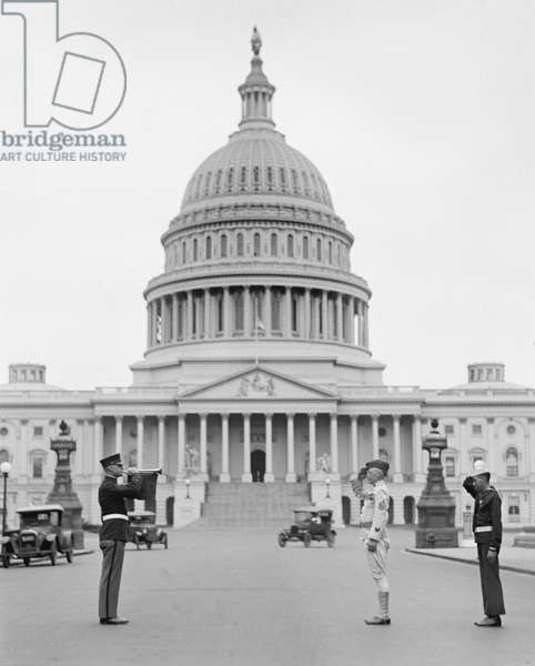 Officer Playing Taps after Funeral of U.S. President Warren G. Harding, Capitol Building in Background, Washington DC, USA, 1923 (b/w photo)