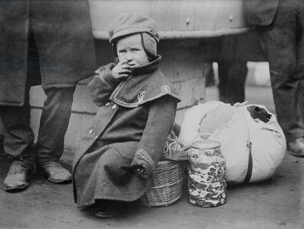 Polish Emigrant Child onboard S.S. President Grant, New York City, New York, USA, Bain News Service, November 1907 (b/w photo)