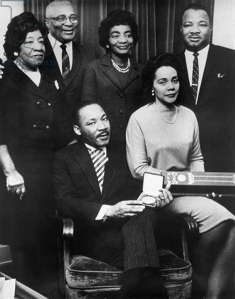 Martin Luther King, Jr., with Wife Coretta and Family, Accepting Nobel Peace Prize, 1964