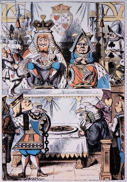 King and Queen of Hearts at the trial of the Knave of Hearts, Alice's Adventure in Wonderland by Lewis Carroll, Hand-coloured Illustration, c. 1865