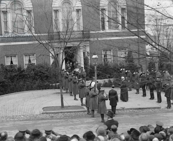 Funeral of Former U.S. President Woodrow Wilson, Washington DC, USA, 1924 (b/w photo)