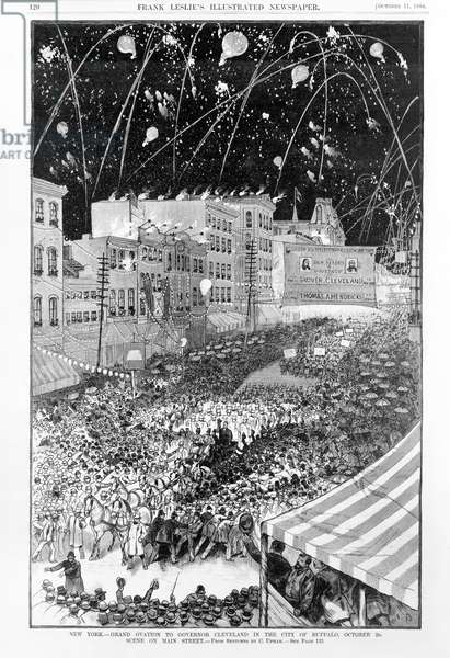 New York. Grand Ovation to Governor Cleveland in the city of Buffalo, October 2d. Scene on Main Street, from sketches by C. Upham, in 'Frank Leslie's Illustrated Newspaper', October 11, 1884 (litho)