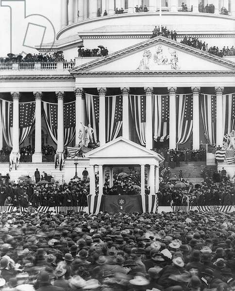 President McKinley Making his Second Inaugural Address, U. S. Capitol, Washington DC, USA, March 4, 1901 (b/w photo)