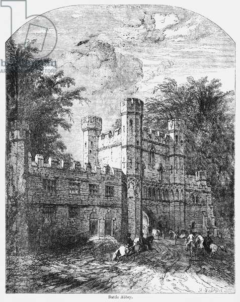 Battle Abbey, Illustration from John Cassell's Illustrated History of England, Vol. I from the earliest period to the reign of Edward the Fourth, Cassell, Petter and Galpin, 1857 (litho)