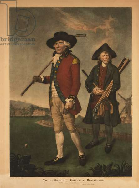 To the Society of Goffers at Blackheath, Portrait of Golfer and Caddie (colour engraving)