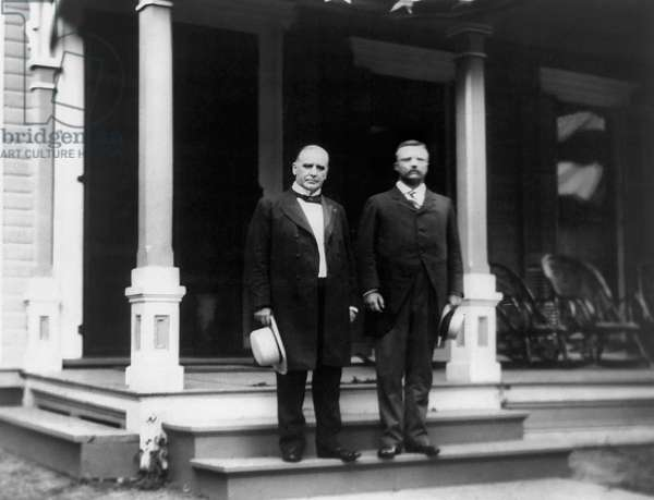 William McKinley and Theodore Roosevelt Standing on Porch Step, 1900 (b/w photo)
