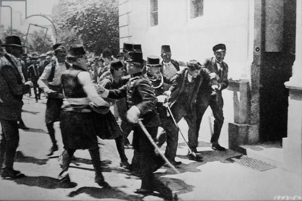 Arrest of the First Bomb-Thrower, Nedeljko Cabrinovic, in the Assassination of Archduke Franz Ferdinand and his Wife, Sarajevo, Bosnia, June 28, 1914