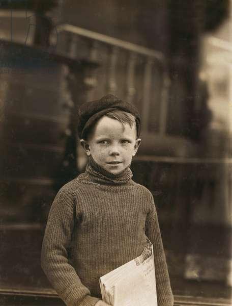 Portrait of 8-year-old Newsboy, Saint Louis, Missouri, USA, circa 1910