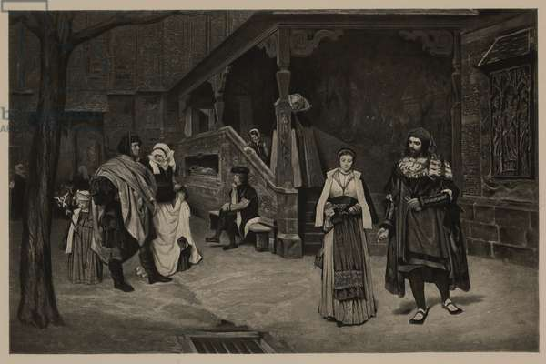 The Meeting of Faust and Marguerite, from The Masterpieces of French Art by Louis Viardot, Published by Gravure Goupil et Cie, Paris, 1882, Gebbie & Co., Philadelphia, 1883