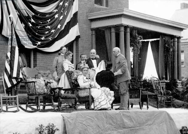 President and Mrs. McKinley on Reviewing Stand at Plattsburgh Barracks, Plattsburgh, New York, USA, n.d. (b/w photo)