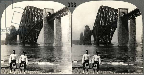 Two Male Highlanders in Native Costume Standing on the Bank of the Firth of Forth Near the Forth Rail Bridge, Queensferry, Scotland, Stereo Card, c.1900