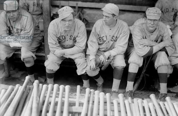 Babe Ruth, Bill Carrigan, Jack Barry, & Vean Gregg, Major League Baseball Players, Boston Red Sox, Portrait, circa 1915