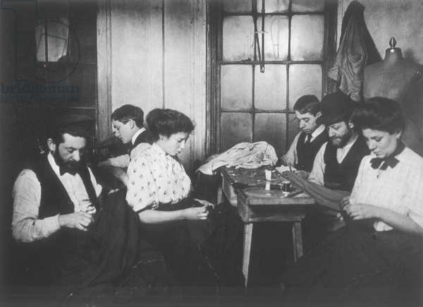 Workers in a sweatshop, New York City, USA, c.1908 (b/w photo)