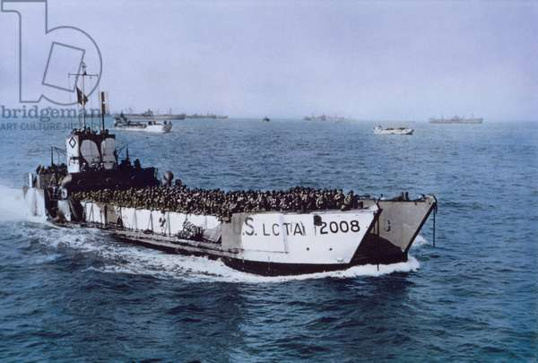 U.S. LCT(A) 2008 Navy Ship Loaded with U.S. Troops Heading toward Beachhead during Invasion of Normandy, Normandy, France, June 7, 1944 (photo)