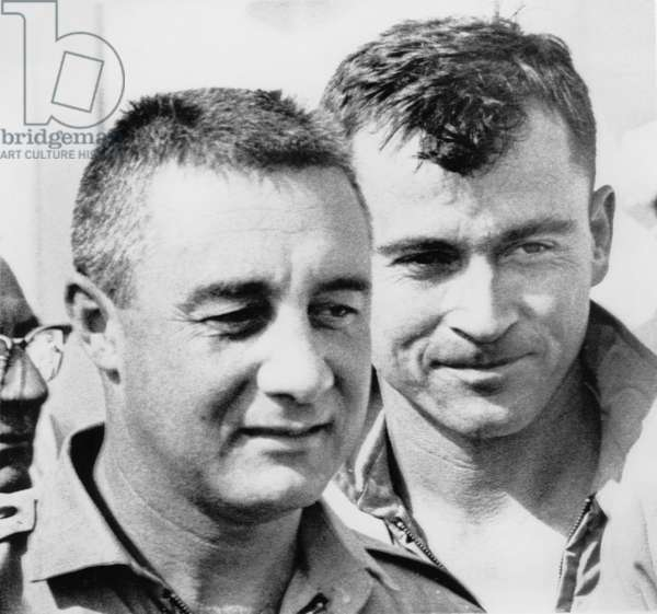 """NASA Astronauts Virgil """"Gus"""" Grissom and John Young, upon Completion of Gemini 3 Space Mission, Portrait, 1965"""