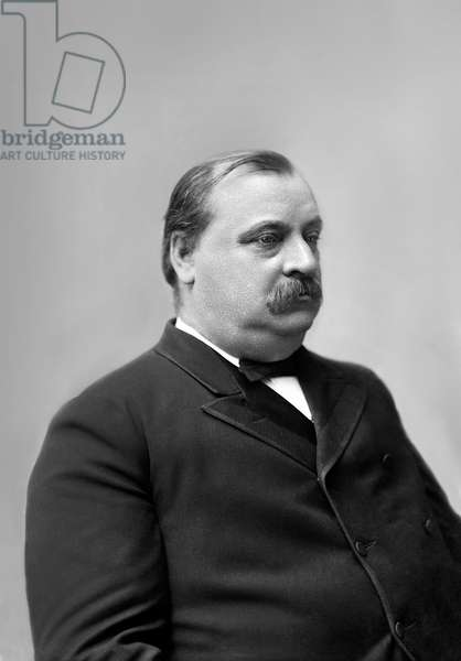Grover Cleveland (1837-1908), 22nd and 24th President of the United States 1885–89 and 1893–97, Half-Length Portrait, 1880's (b/w photo)