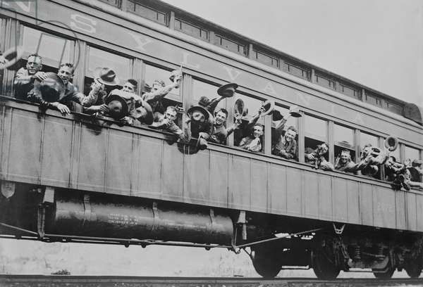 Soldiers of 5th Marine Infantry Regiment on Train enroute to Port of New York for Shipment to France during World War I, New York City, New York, USA, Bain News Service, June 1917 (b/w photo)
