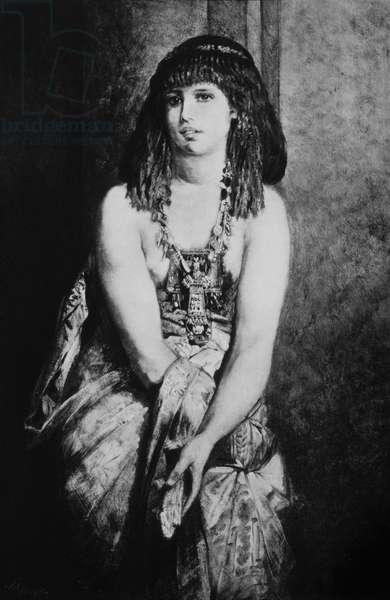 Egyptian Princess Circa 4000 BC , 19th Century Engraving after Hans Makart