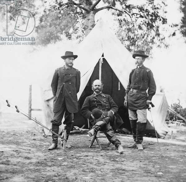 Union Army General Ambrose E. Burnside and Staff Officers, Portrait, Warrenton, Virginia, USA, 1862 (b/w photo)