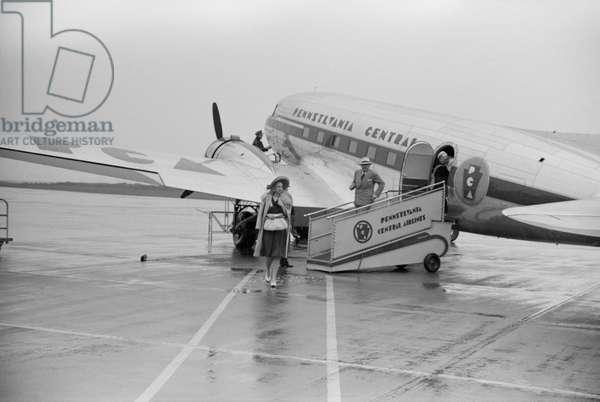 Passengers Leaving Airplane, Municipal Airport, Washington DC, USA, July 1941