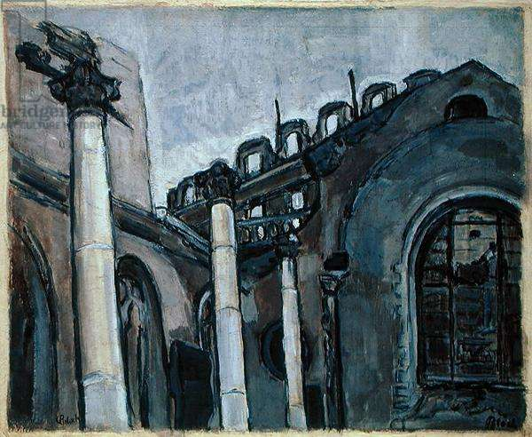 Bombed City Church (oil on paper)