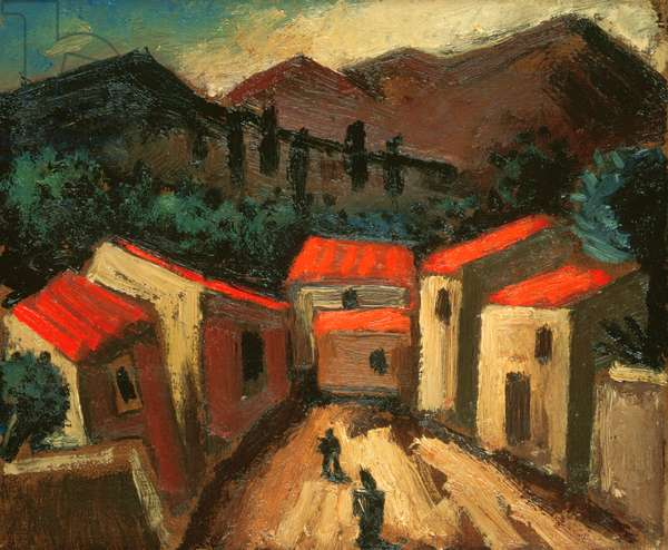 Mountain Landscape with Village (Spain) (oil on canvas)