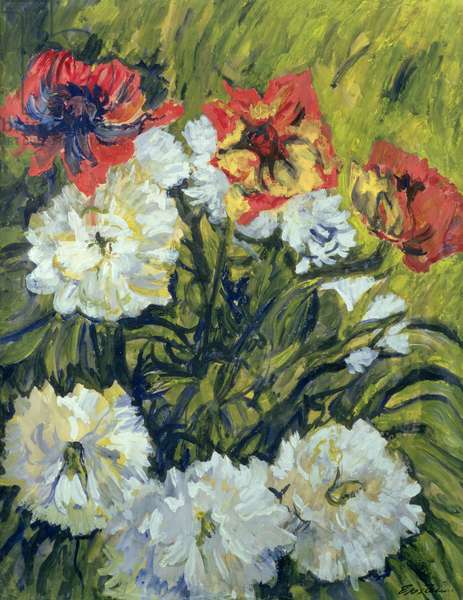 Red and White Flowers (gouache on paper)