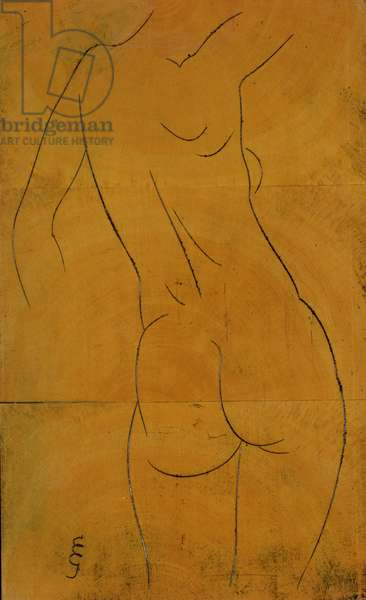 Female Nude, Back View (woodblock)